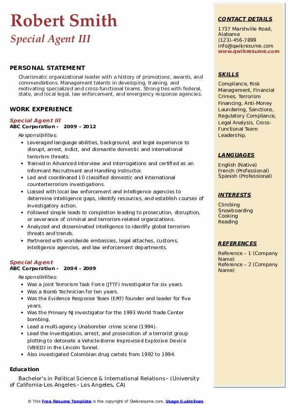 Special Agent III Resume Model