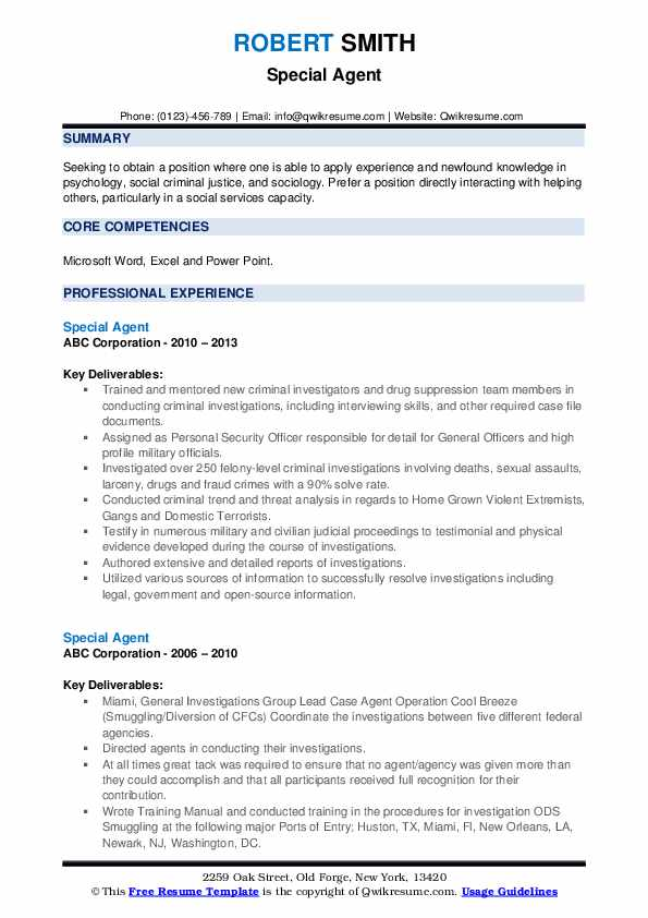 Special Agent Resume example