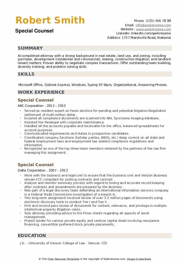 Special Counsel Resume example