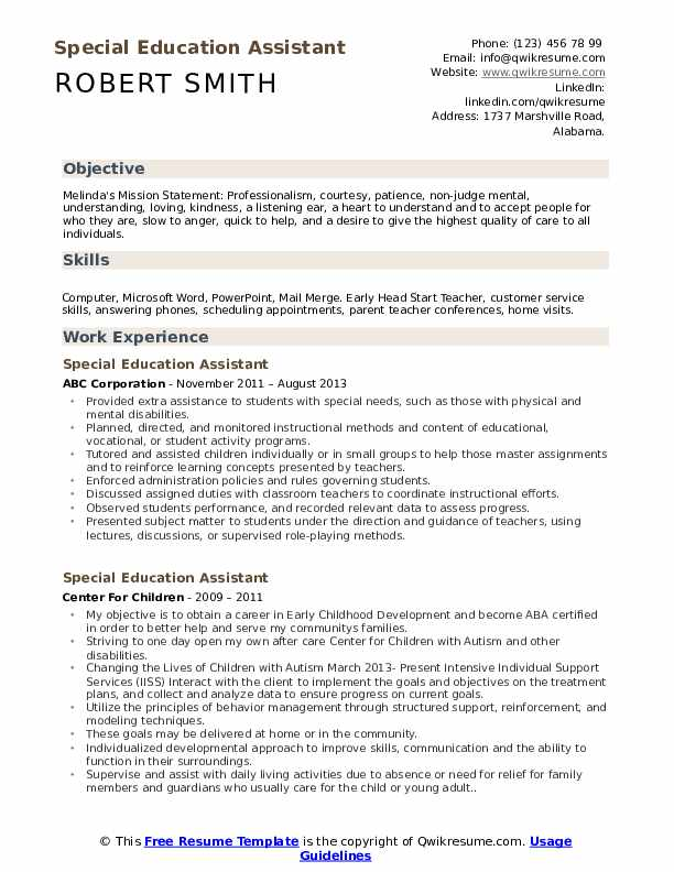 Special Education Assistant Resume Samples Qwikresume