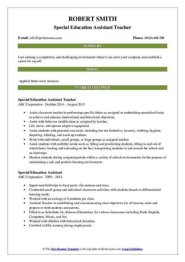 Special Education Assistant Teacher Resume Sample