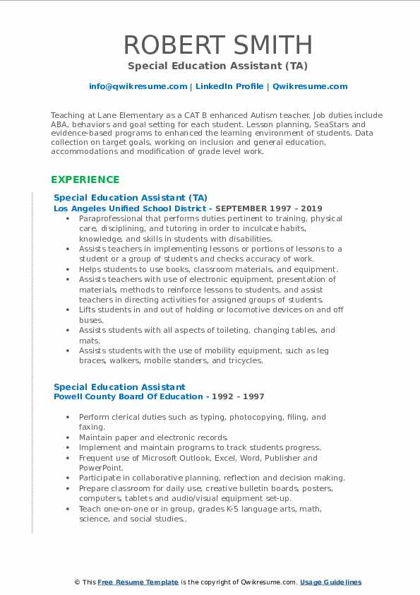 special education assistant resume samples