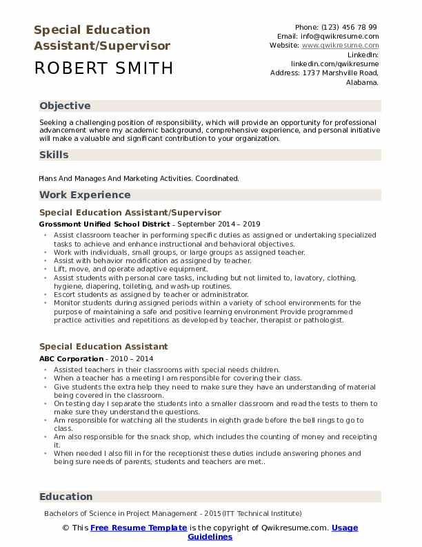 Special Education Assistant/Supervisor Resume Model