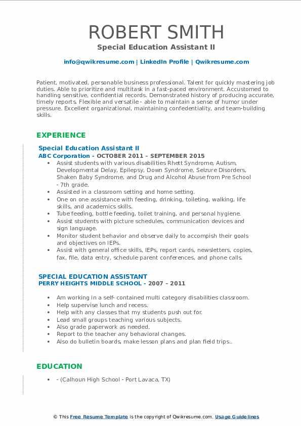 Lead Respite Care Provider Resume Example