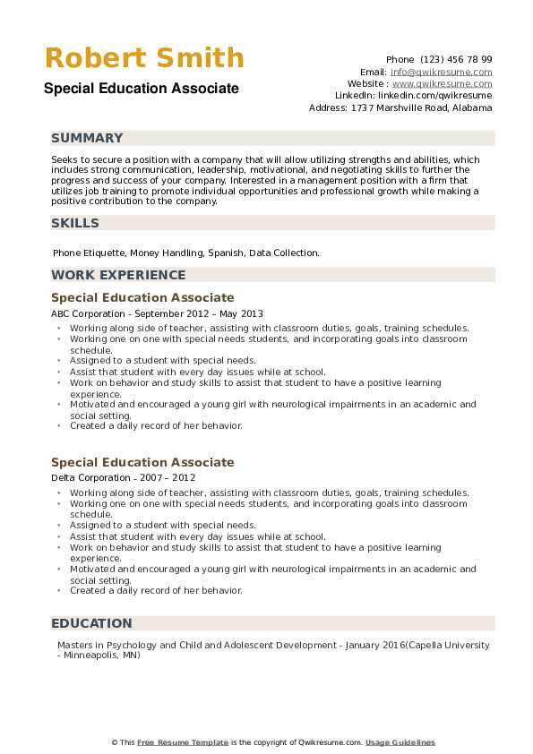 Special Education Associate Resume example