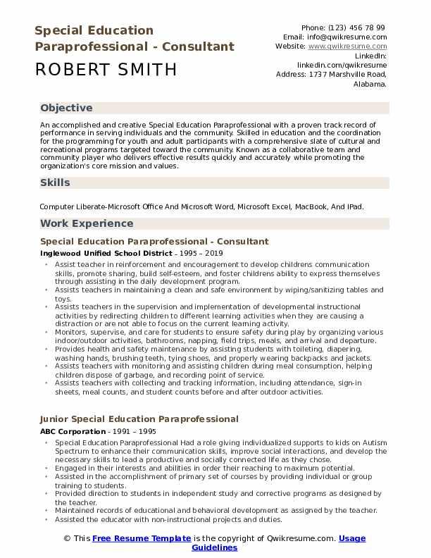 Special Education Paraprofessional - Consultant Resume Format