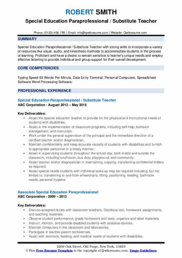 Special Education Paraprofessional / Substitute Teacher Resume Template