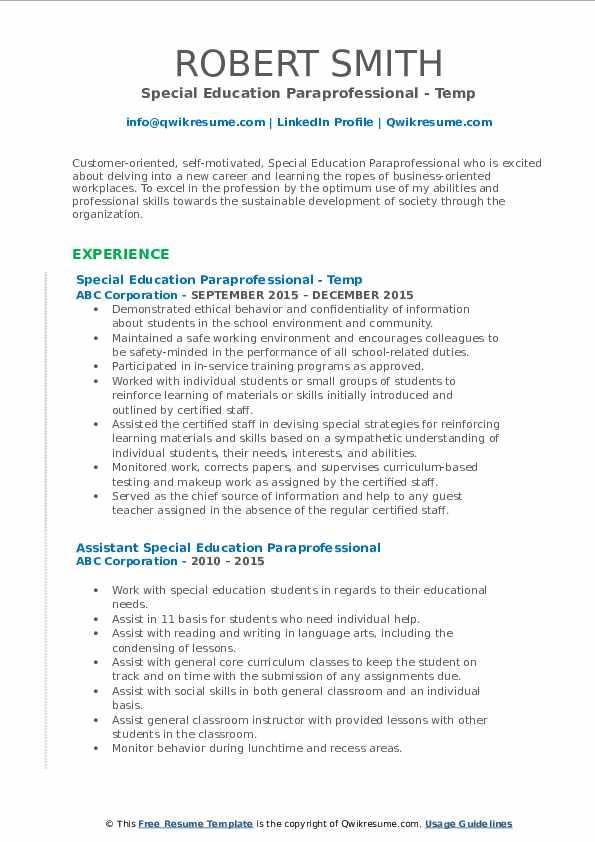 Special Education Paraprofessional - Temp Resume Model
