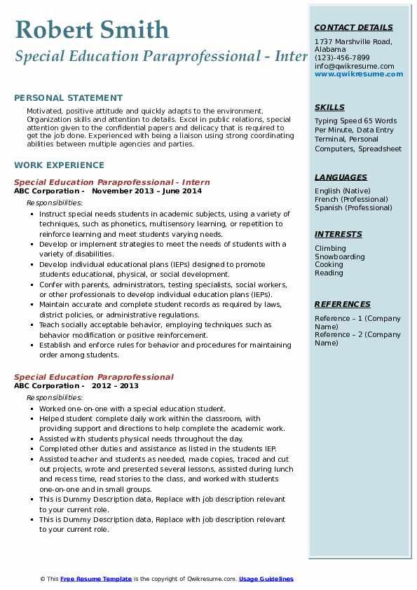 Special Education Paraprofessional - Intern Resume Sample