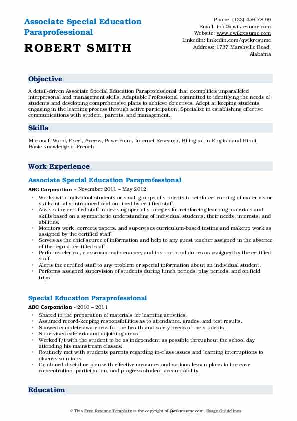 Associate Special Education Paraprofessional Resume Example