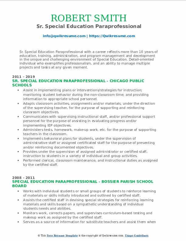Sr. Special Education Paraprofessional Resume Model