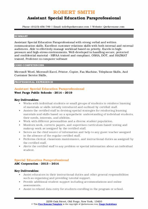 Assistant Special Education Paraprofessional Resume Template