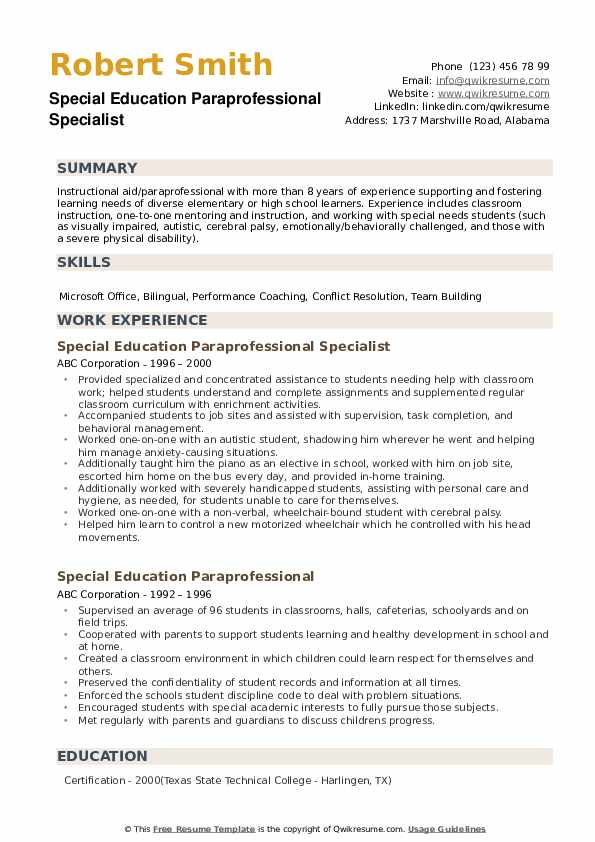 Special Education Paraprofessional Specialist Resume Model