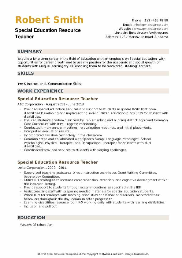 Special Education Resource Teacher Resume example
