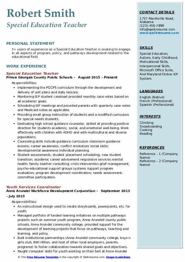 Special Education Teacher Resume Samples | QwikResume
