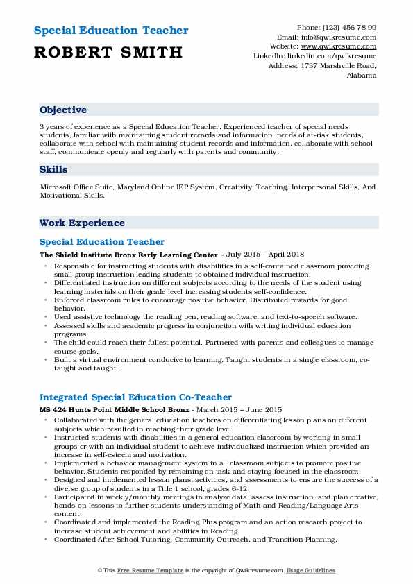 Special Education Teacher Resume Samples Qwikresume