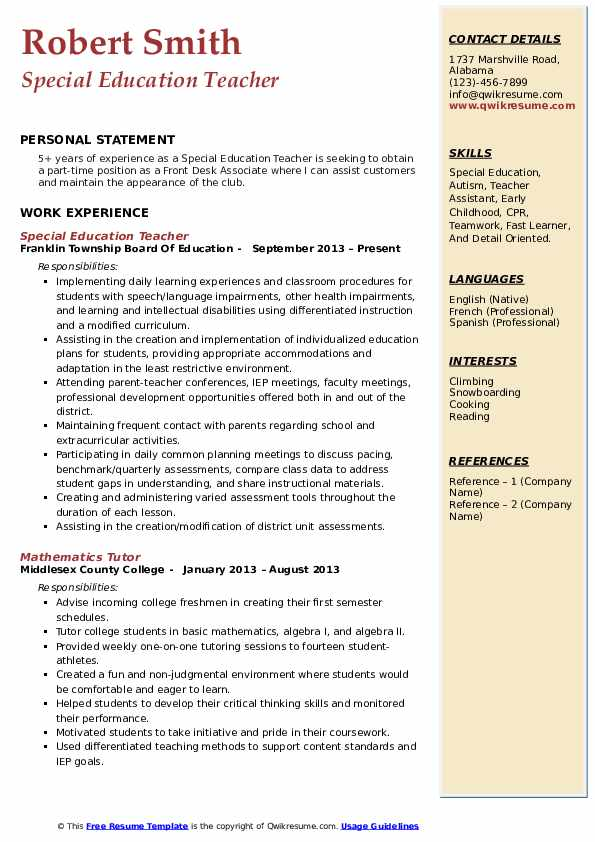 special education teacher resume samples