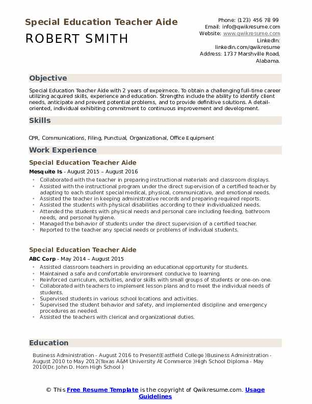 Special Education Teacher Aide Resume Sample