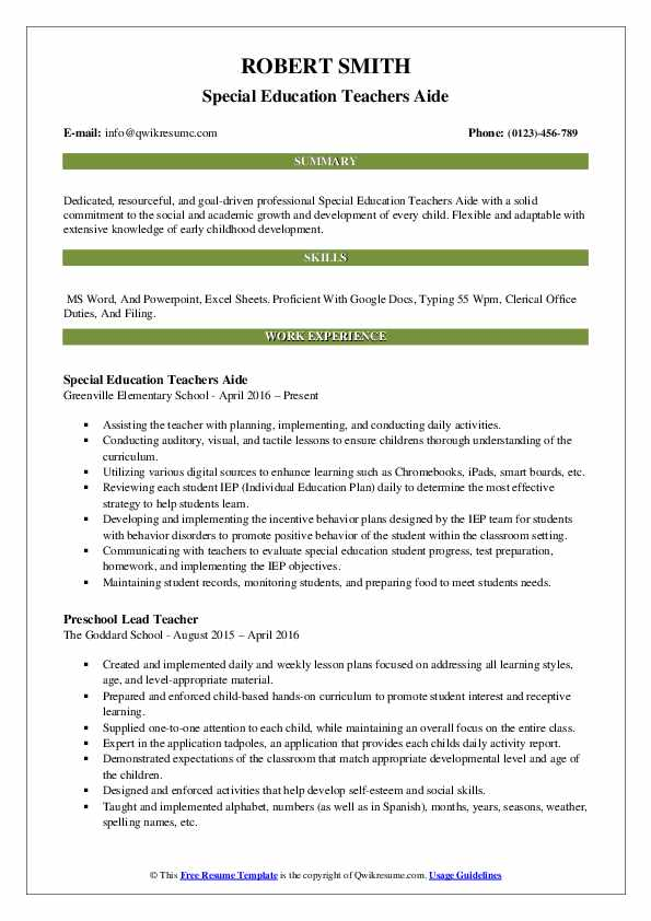 Special Education Teachers Aide Resume Sample