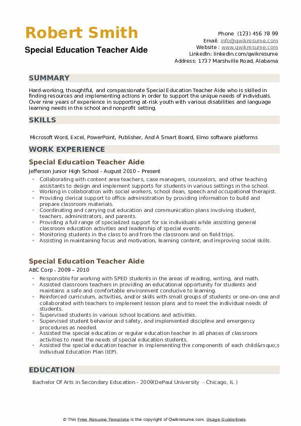 Special Education Teacher Aide Resume Example