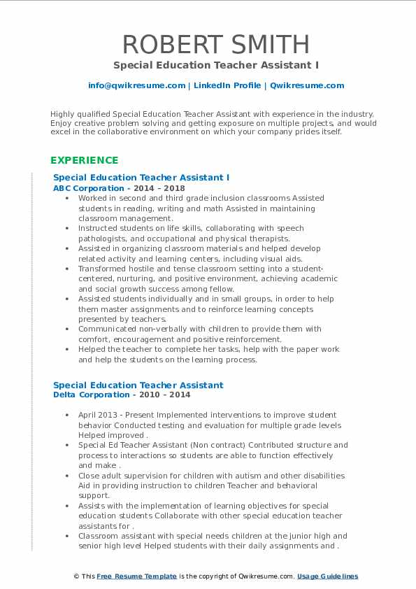 special education teacher assistant resume samples