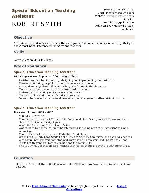 Special Education Teaching Assistant Resume example