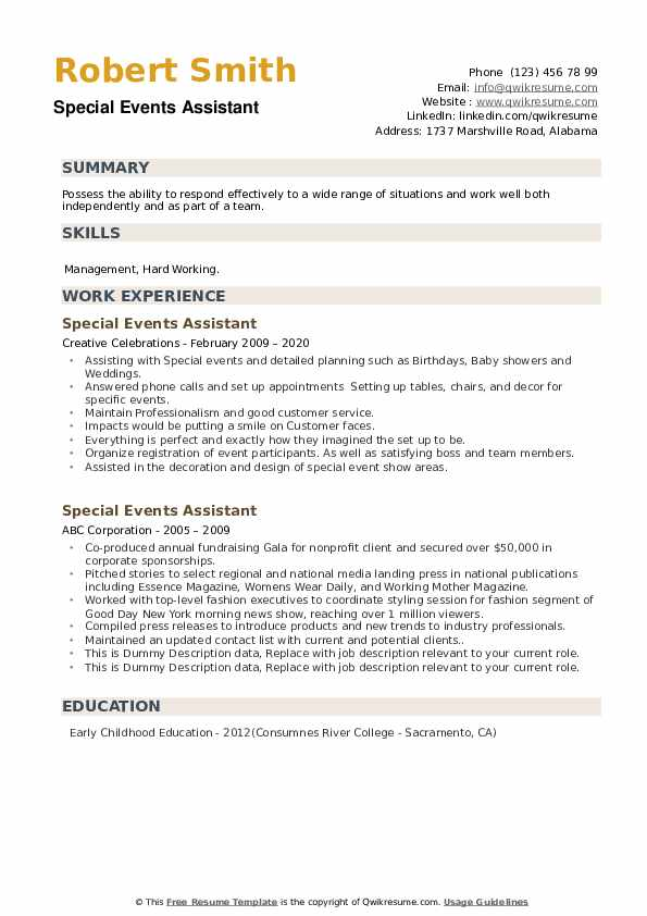 Special Events Assistant Resume example