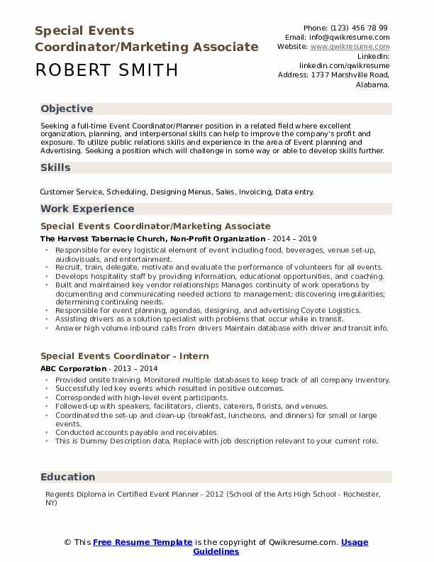 Special Events Coordinator/Marketing Associate Resume Example