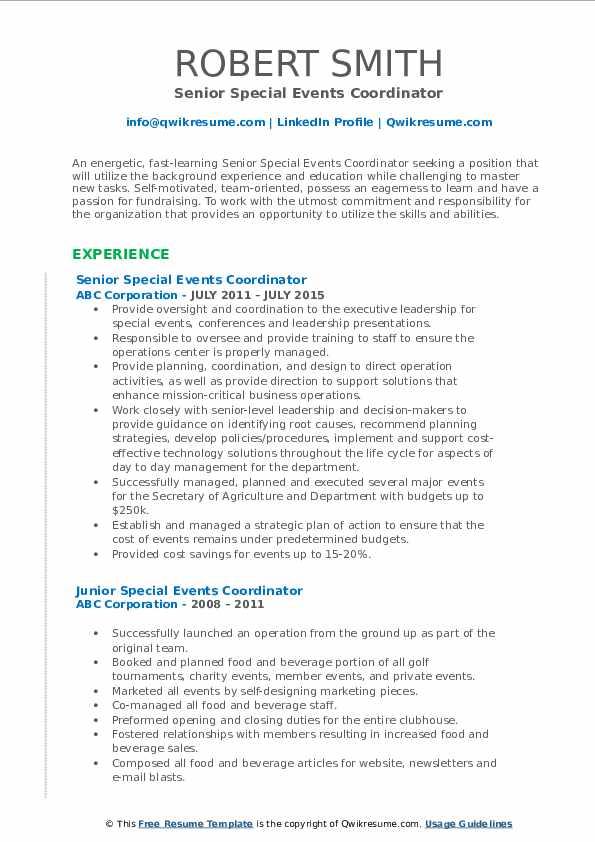 Senior Special Events Coordinator Resume Format