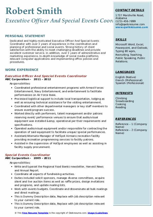 Executive Officer And Special Events Coordinator Resume Format