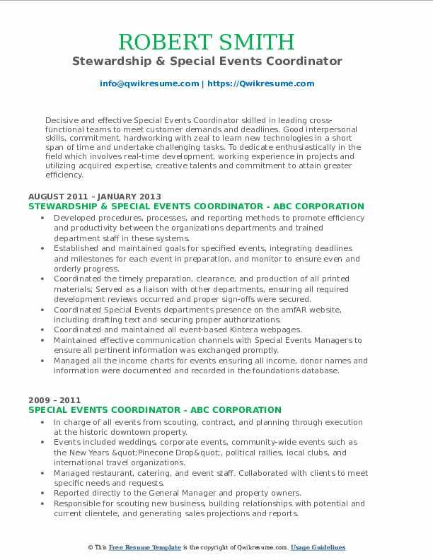 Stewardship & Special Events Coordinator Resume Sample
