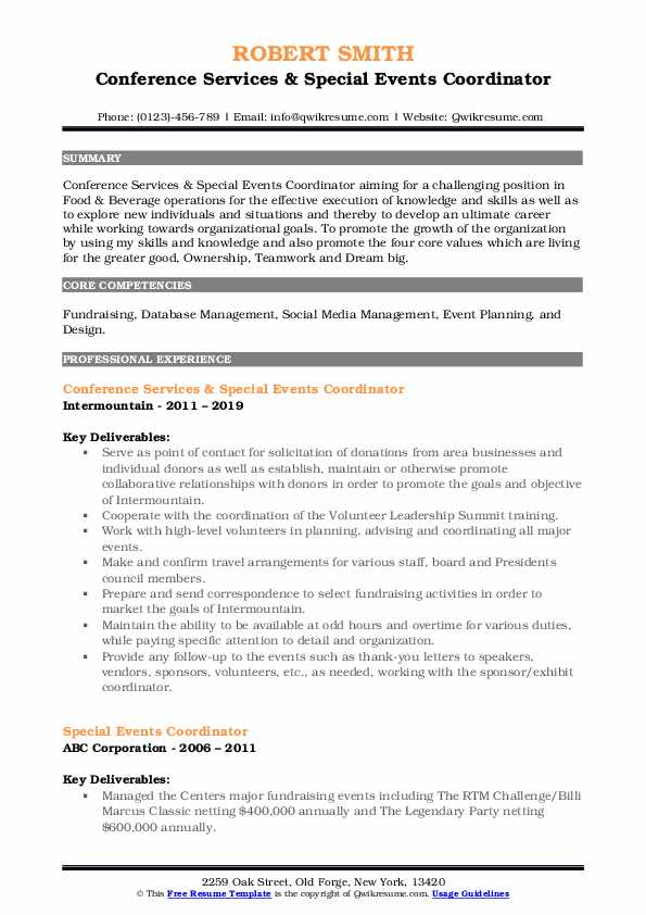 Conference Services & Special Events Coordinator Resume Model
