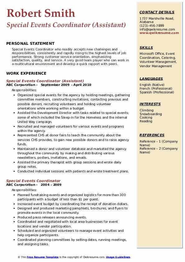 Special Events Coordinator (Assistant) Resume Model