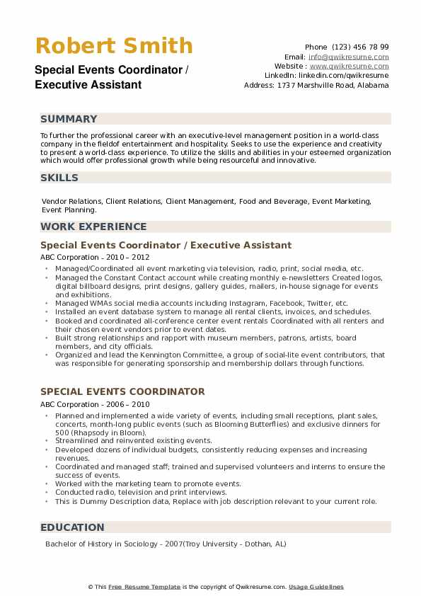 Special Events Coordinator / Executive Assistant Resume Example