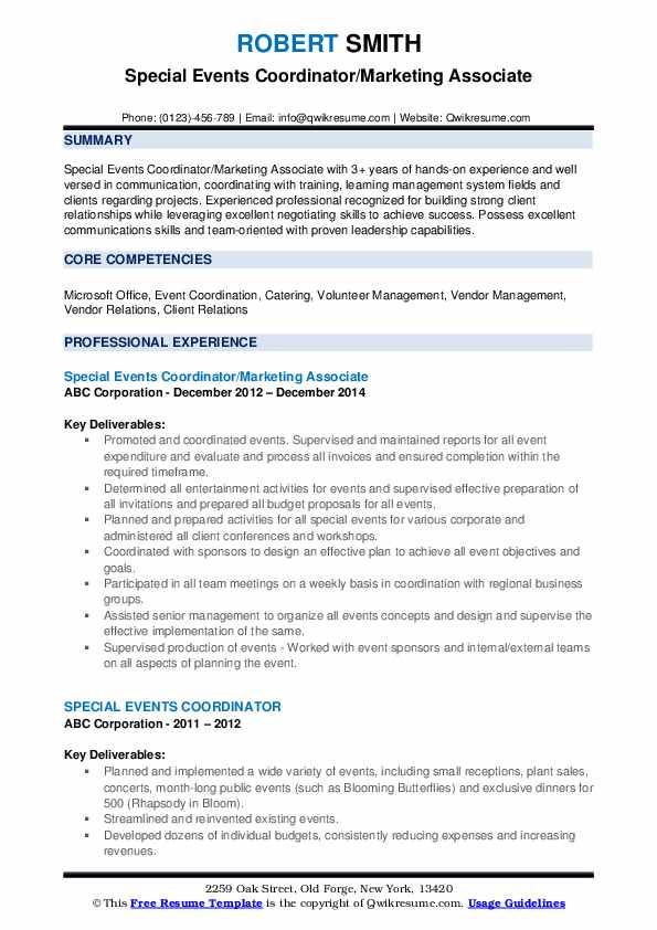Special Events Coordinator Resume example