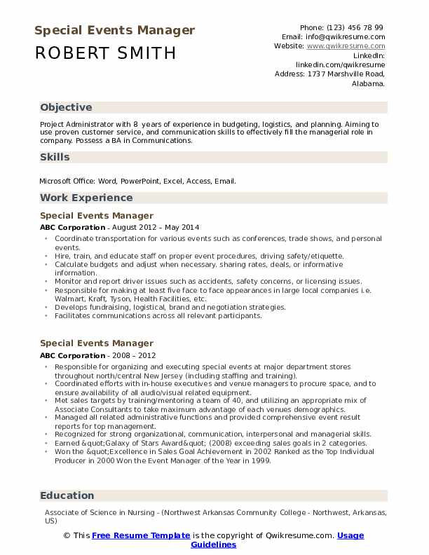 Special Events Manager Resume example