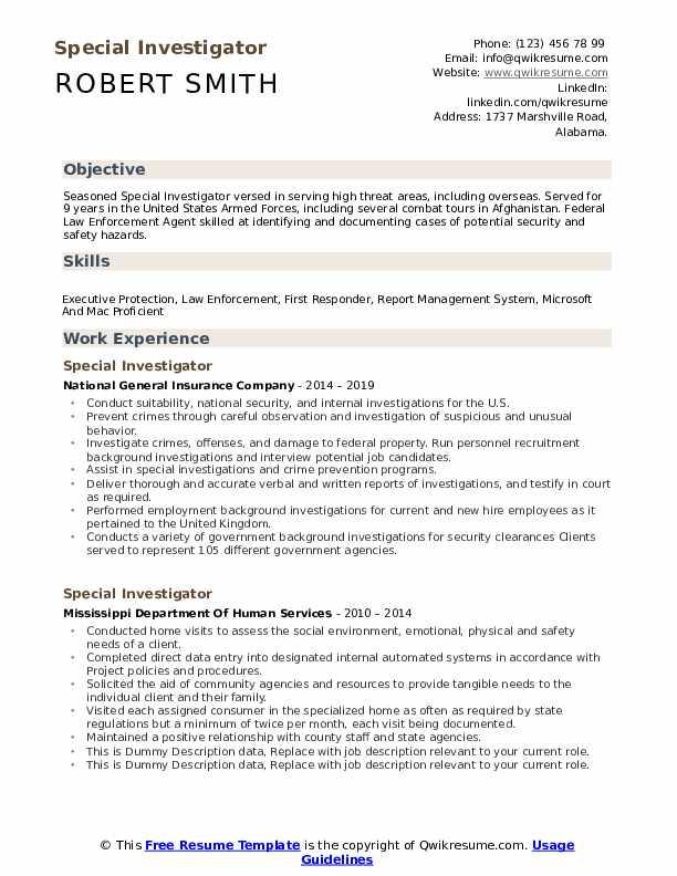 Special Investigator Resume example