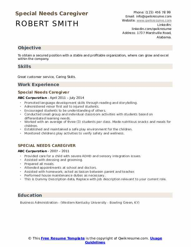 Special Needs Caregiver Resume example