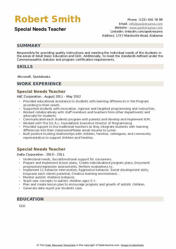 Special Needs Teacher Resume example