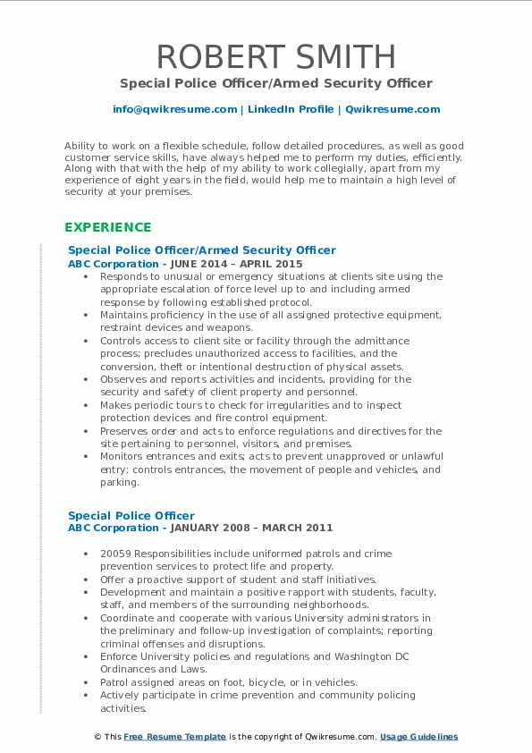Special Police Officer/Armed Security Officer Resume Model