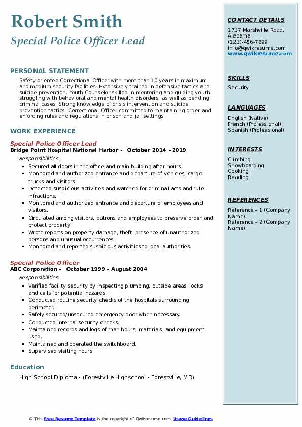 special police officer resume samples  qwikresume