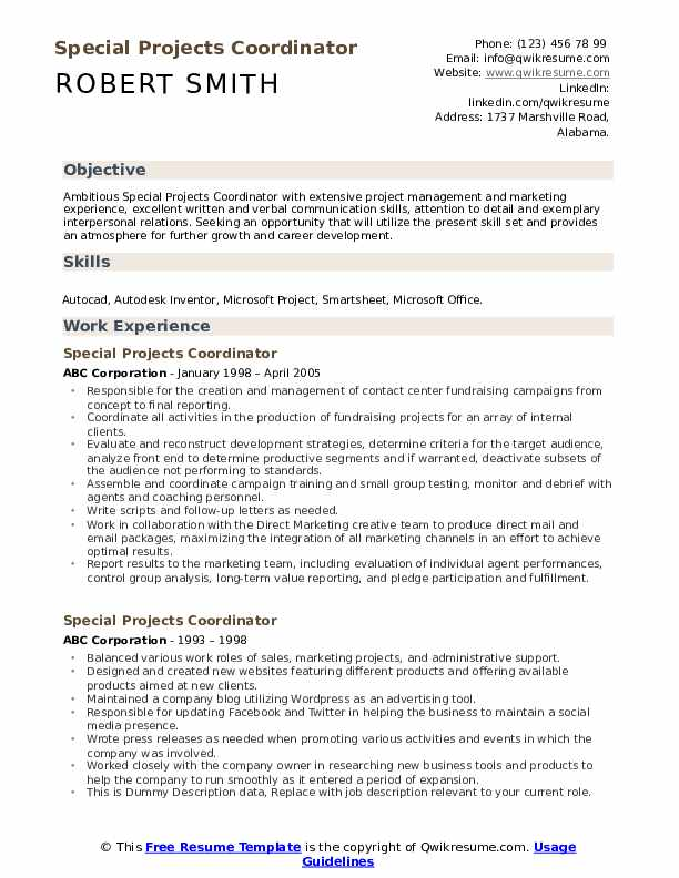 Special Projects Coordinator Resume example