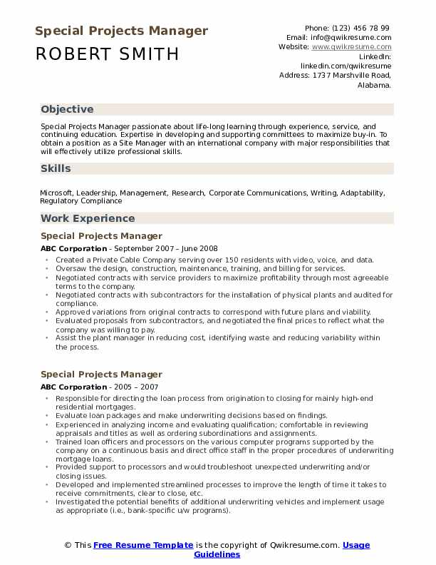 Special Projects Manager Resume example