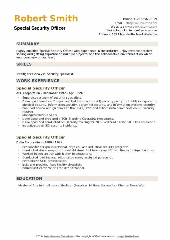 Special Security Officer Resume example