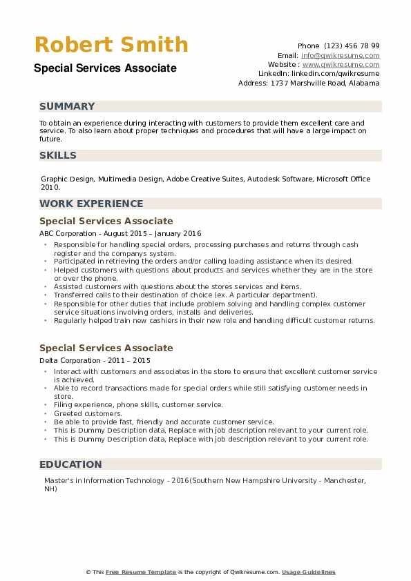 Special Services Associate Resume example