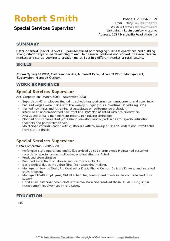 Special Services Supervisor Resume example