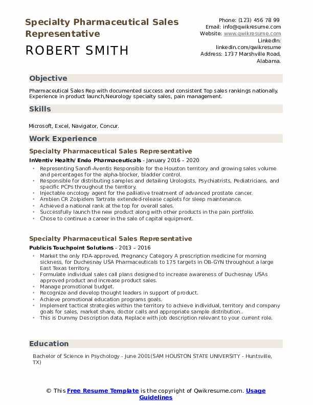 Specialty Pharmaceutical Sales Representative Resume example