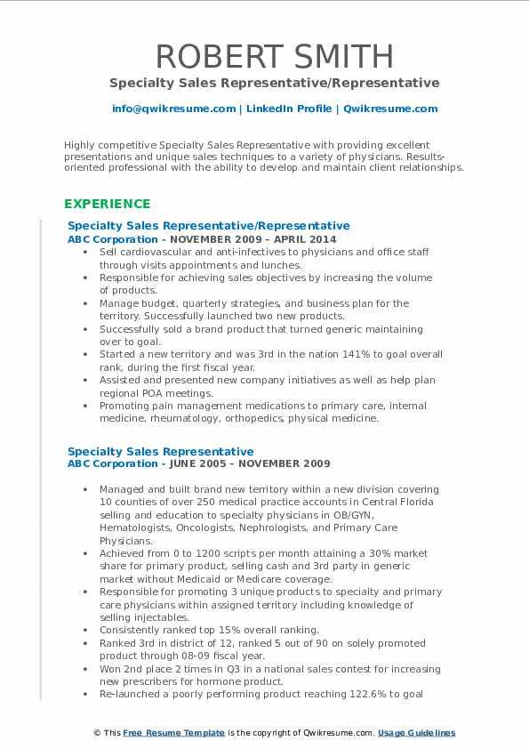 specialty sales representative resume samples  qwikresume