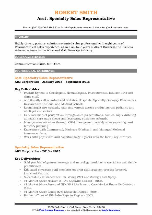 specialty sales representative resume samples