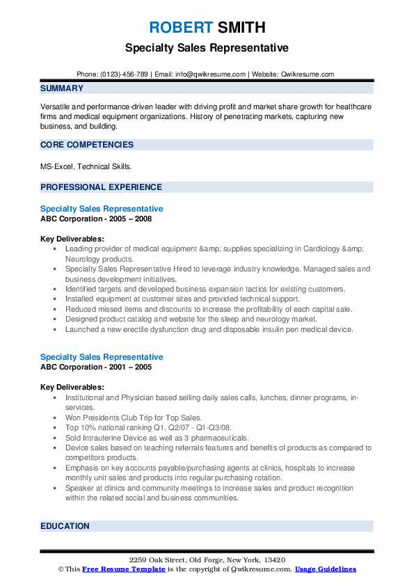 Specialty Sales Representative Resume example